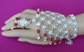 Handsieraad zilver/rood