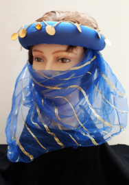 1001-nacht hoofdband met sluiertje blauw