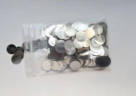 plastic muntjes zilver (2e keus) ± 500 stuks
