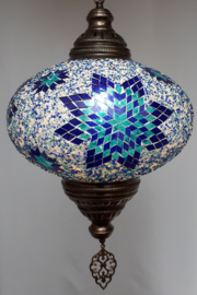 Grote mozaieklamp 35cm blauw