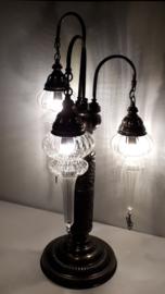 Tafellamp 3 glazen Pyrex pegels