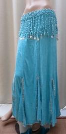 fluwelen rok turquoise/zilver