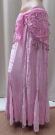 fluwelen rok roze/zilver