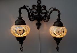 mozaïek wandlamp dubbel 13cm wit