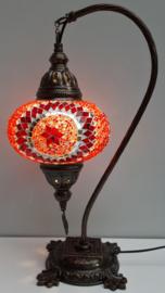 Tafellamp 'zwaan' 16cm rood-rondjes