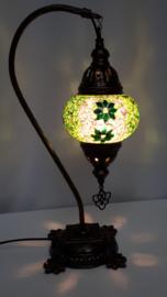 Tafellamp 13cm 'zwaan' groen-sterretjes