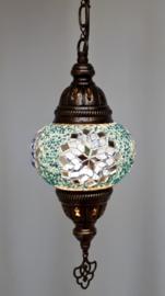 Mozaïek hanglamp 13cm turquoise/lichtblauw