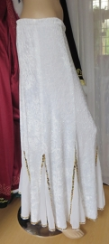 fluwelen rok wit/goud