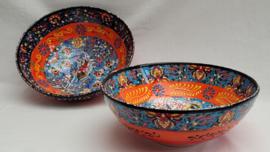 keramieken schalen 20cm oranje/blauw