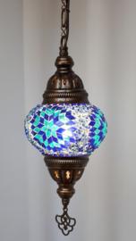 Mozaïek hanglamp 13cm blauw/turquoise
