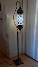 Mozaïek vloerlamp blauw (cilinder)