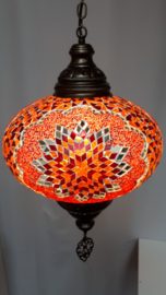 Grote mozaieklamp 35cm oranje-rood