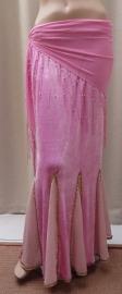 fluwelen rok roze/goud