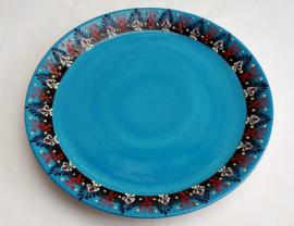 keramiek pizzabord of taartbord turquoise
