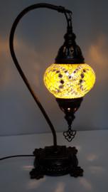 Tafellamp 13cm 'zwaan' geel/zilver