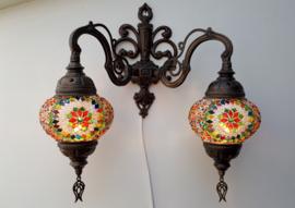 mozaïek wandlamp dubbel 13cm multicolor groen-rood