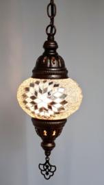 Mozaïek hanglamp 13cm wit-zilver 3S