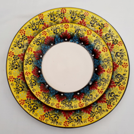 borden keramiek 18 of 26cm geel1, prijs vanaf
