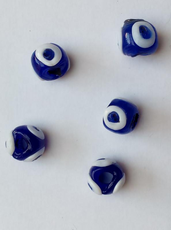 """5 kralen """"boze oog"""" glas 10x12 mm"""