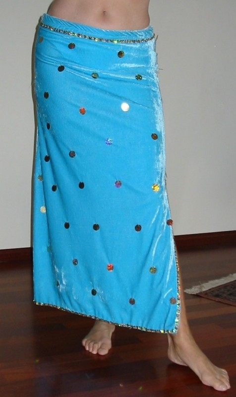 rok fluweel 240 turquoise