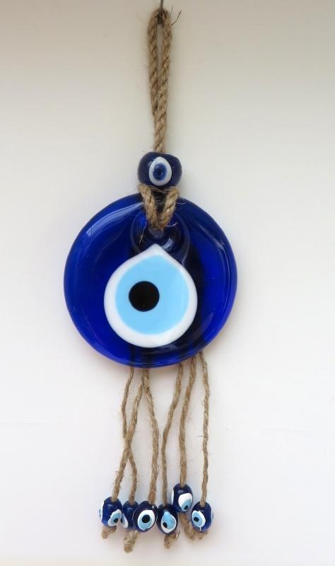 """wanddecoratie """"boze oog"""" 7cm aan touw"""
