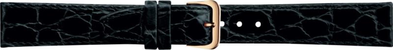 Kalfleer Zwart Croco Horlogeband