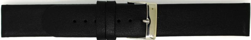 Horlogeband Echt Leer Recht Zwart