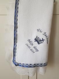Moderne doopdeken Prince  Navy blue Nu gratis naam en datum