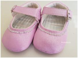 roze glitter baby feestschoentjes  - bruidsmeisjes