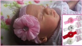 Haarbandje rozet en stras (hb58)
