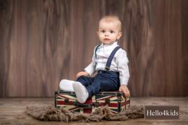 Chique Bruidsjonker - Doop pakje donkerblauw  bretels