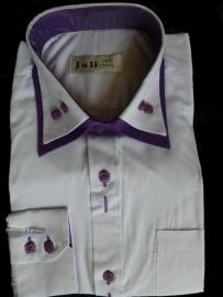 sjiek wit overhemd contrast paars