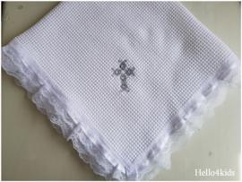 Doopdeken wafeltjes stof zilver kruis