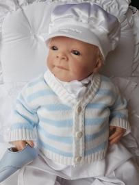Blauw wit gestreept baby vestje
