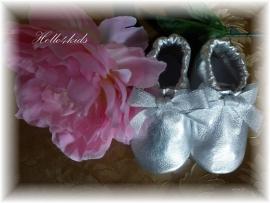 Leer baby slof moccasins schoentje zilver