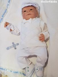Compleet Bruidsjonker - doop setje Davey wit/blauw