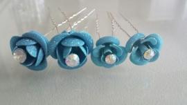 4x Aqua haarpin met glitterbloem