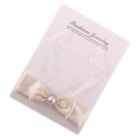 Kanten baby haarbandje strik roze/wit