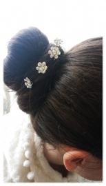 3x stras haarpin - bloem