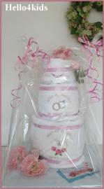 Bruidstaart van handdoeken gepersonaliseerd