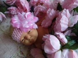 Baby haarband roze met bloem (hb74)