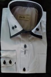 Sjiek Wit jongens overhemd met zwarte contrast