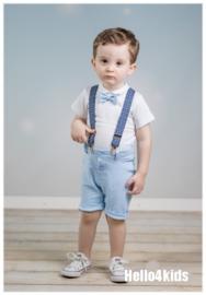 Setje korte broek met bretels licht blauw