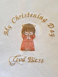 Doopdeken God Bless Angel Zalm roze GRATIS naam en datum geborduurd