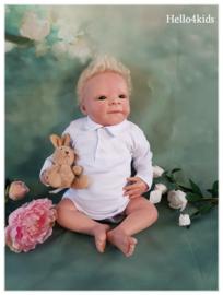 Baby polo romper wit 100% katoen