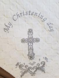 Roze of wit Doopdeken My Christening day (met of zonder Naam)