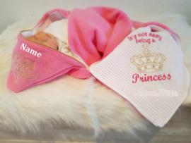 geboorte deken Princess met of zonder naam omslagdoek
