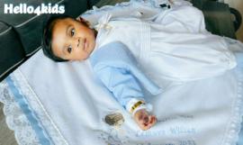 Blauwe jongens geboorte/doopdeken Biddend Engeltje