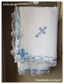Zomer doopdeken doopkleed wafeltjes stof Met heilig kruis
