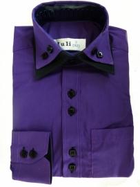 Sjike paars overhemd met zwarte contrast